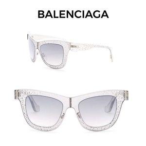 Balenciaga 52mm Squared Sunglasses NWT Case & Card